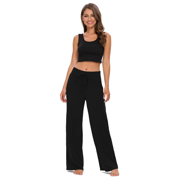 Solid Color Lounge Pants with Solid Waistband