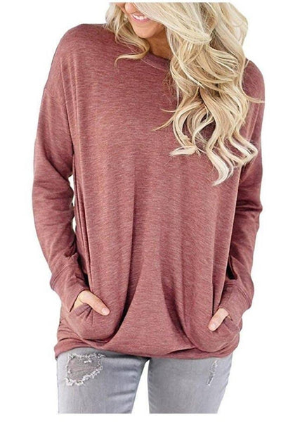 Red Solid Long Sleeve Shirt With Pockets