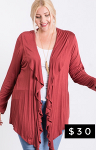 Lightweight cardigan with waterfall front