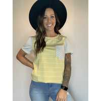 Yellow with White Stripe T-shirt With Pocket - RTS