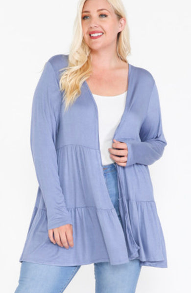 Solid long sleeved tiered cardigan