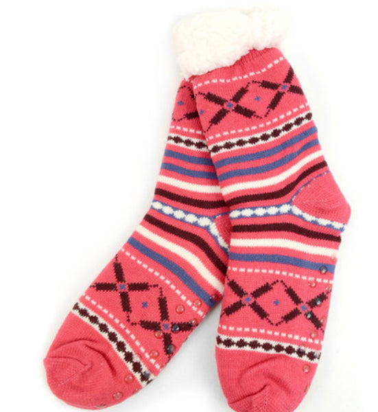 Pink Classic Winter Print Cozy Socks
