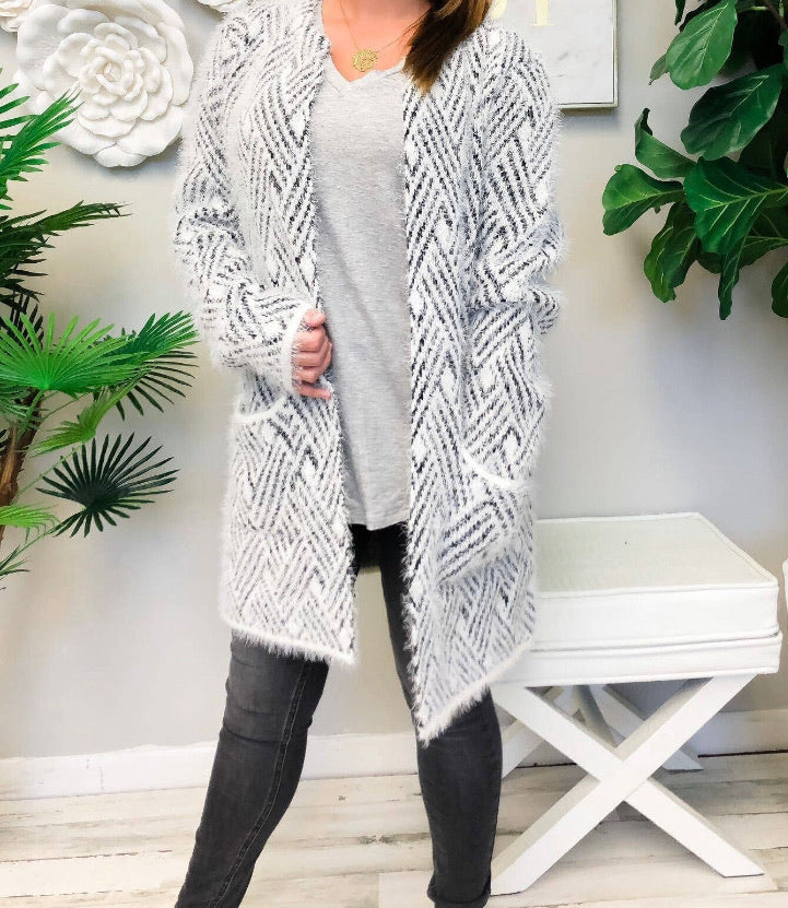 Geometric pattern Fuzzy Sweater