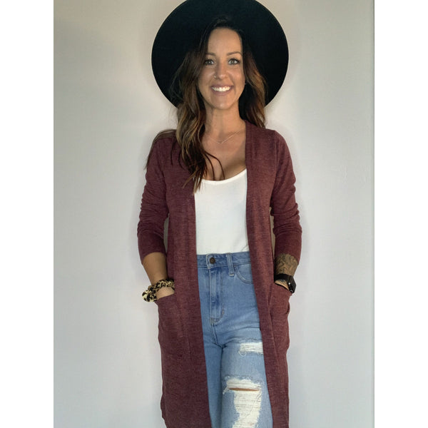 Wine Colored Cardigan - RTS