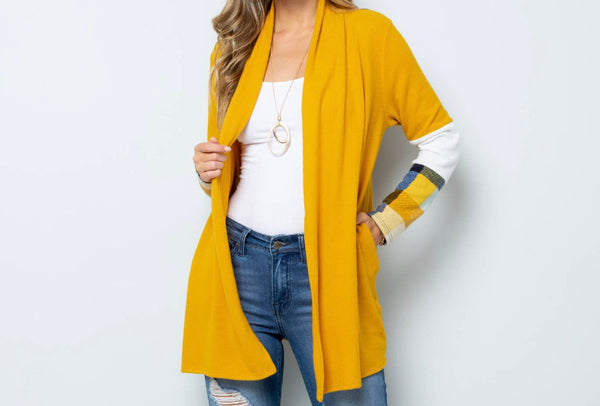 Cardigan Solid colored with Patterned accent Sleeves