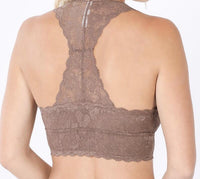 Lovely in Lace Racerback Bralette in Ash Mocha