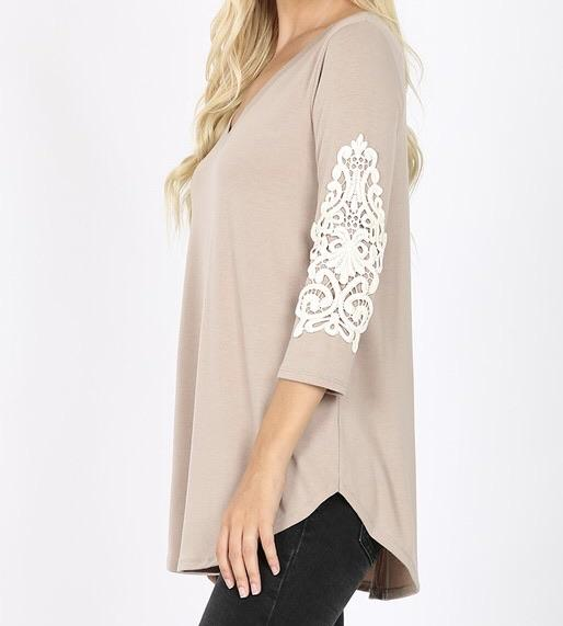 Patched in Lace Top