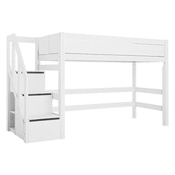 Low loft bed with stepladder