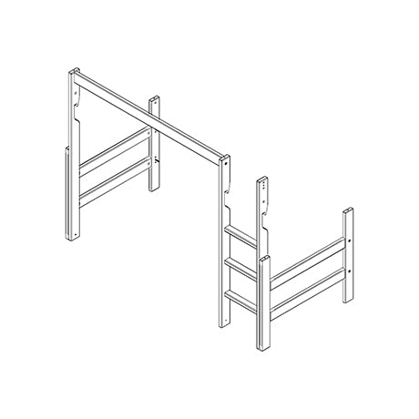 Frame, straight ladder and parts for low loft bed