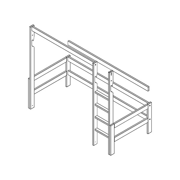 Frame, straight ladder and parts for high bed