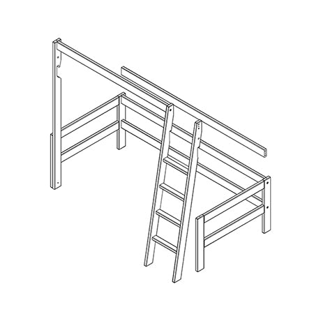 Frame, slanted ladder and parts for high bed