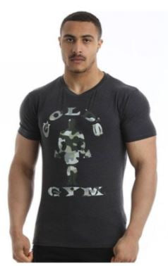 Golds Gym Camo Tee Charcoal