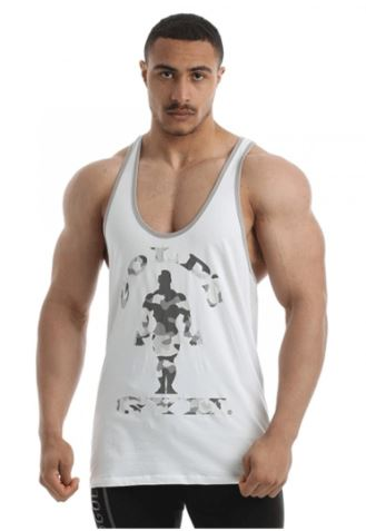 Golds Gym Camo Stringer White
