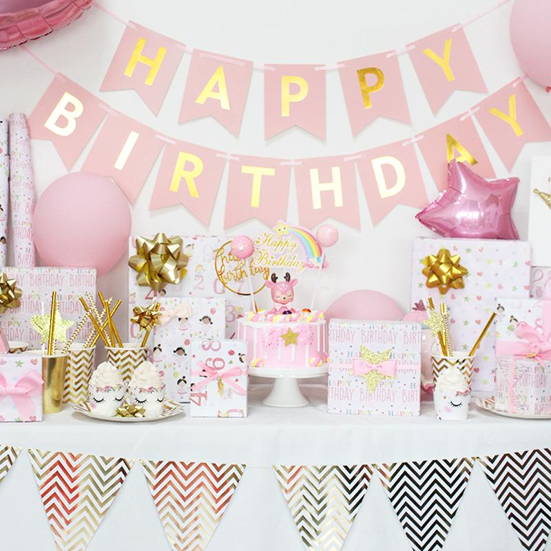 "Birthday Girl ""Hearts & Stars"" Wrapping Paper Sheets"