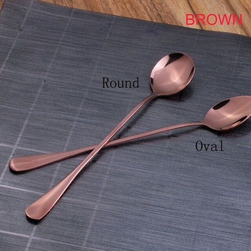 4 Colors Stainless Steel Spoon With Long Handle