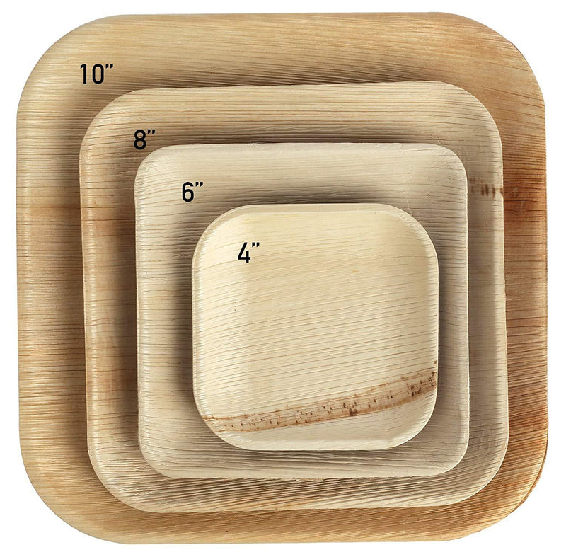 "Palm Leaf Plates Square Dinner ALL SIZES Plates 4""-10"" Inch (Set of"