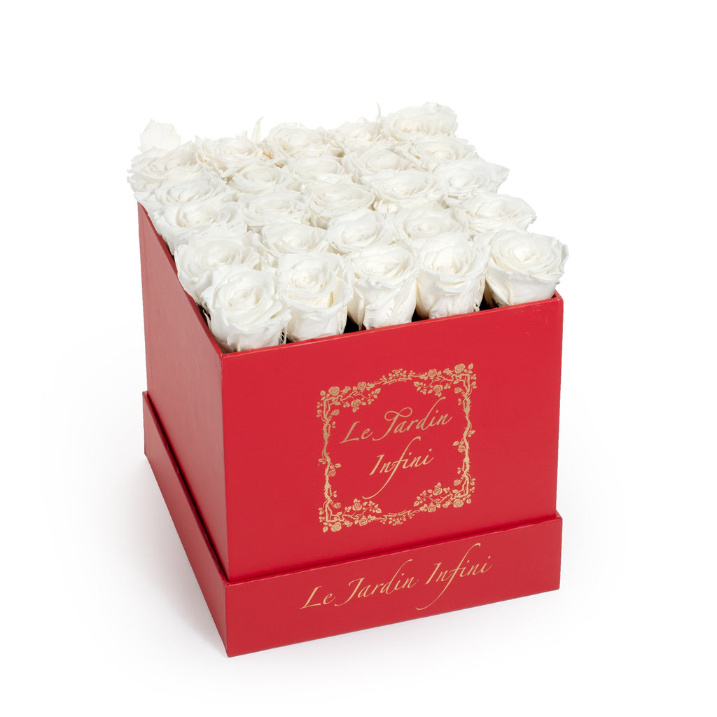 White Preserved Roses - Medium Square Red Box