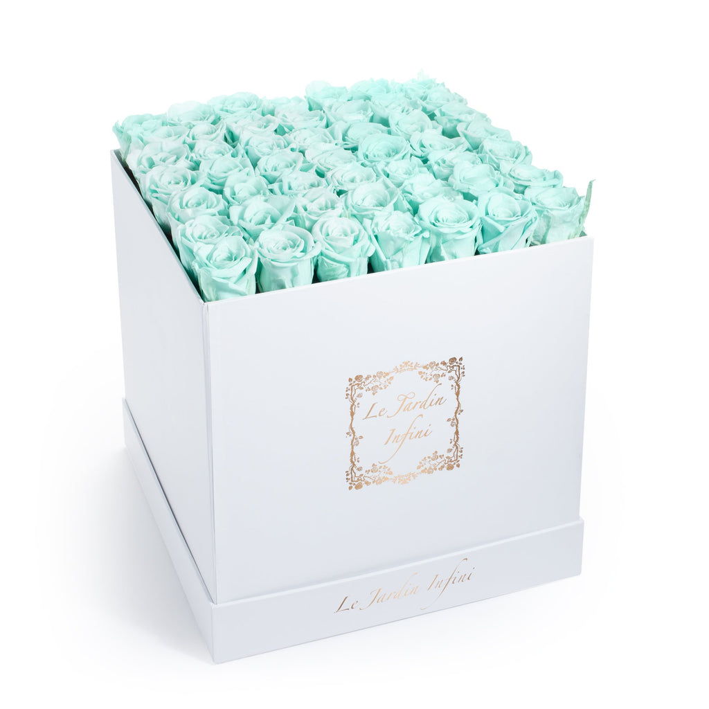 Baby Blue Preserved Roses - Large Square White Box