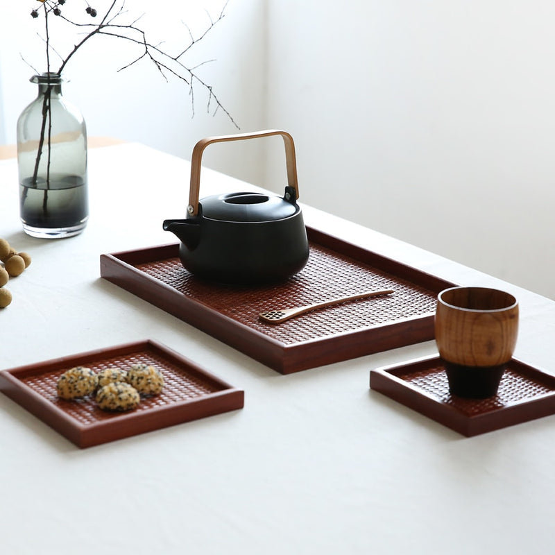 Rattan Wood Tea Tray