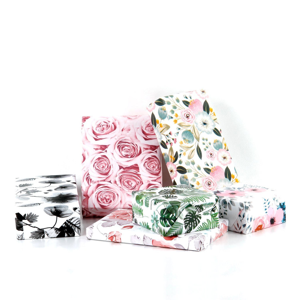 "White/Pink/Green ""Modern Floral & Summer Leaves"" Wrapping Paper - 3"