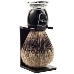 Parker Pure Badger Brush in Black and Chrome with Stand