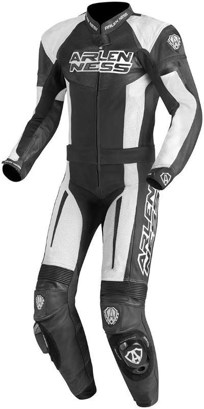 Men Arlen Ness Monza Two Piece Motorcycle Leather Suit