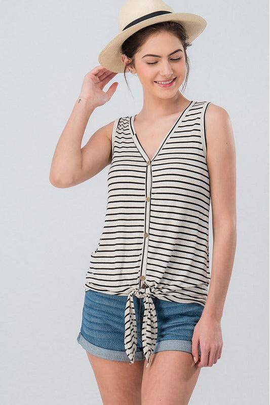 Ready for Anything Sleeveless Jersey Stripe Top