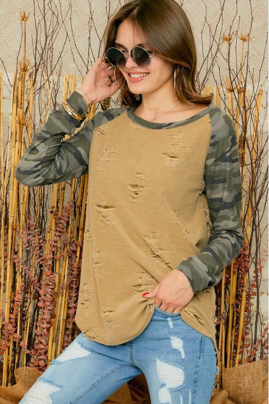 Distressed Camo and Olive Sweater