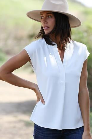 V NECK CAP SLEEVE TOP