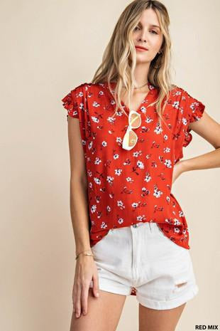 Frilled Cap Ruffle Top