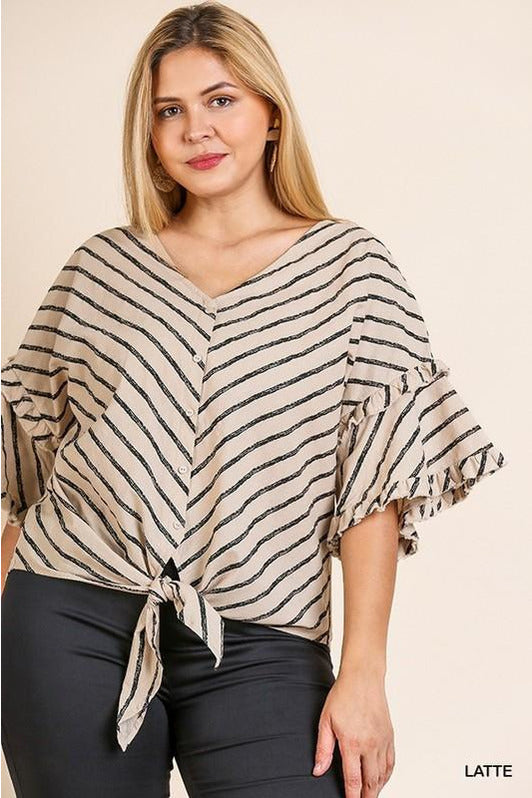 Striped Bell Ruffle Sleeve V-Neck Top (Plus)