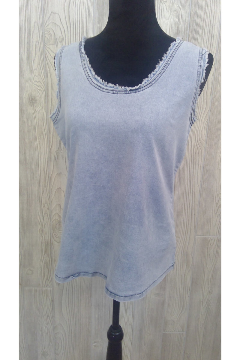 Distressed Sleeveless Denim Top