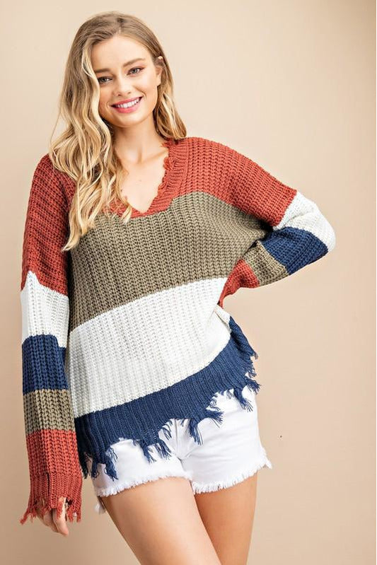 Chunky Knit Distressed Sweater