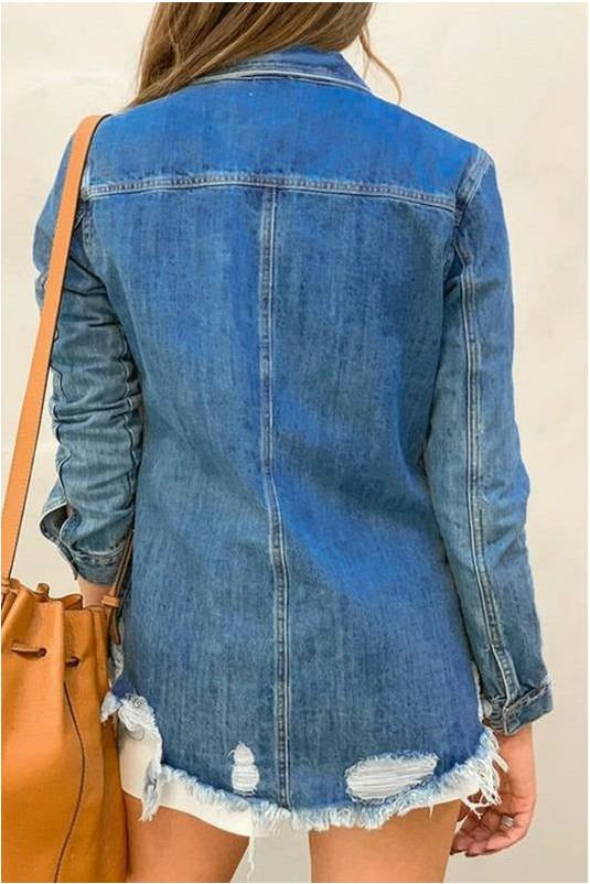Country Lovin Distressed Denim Top