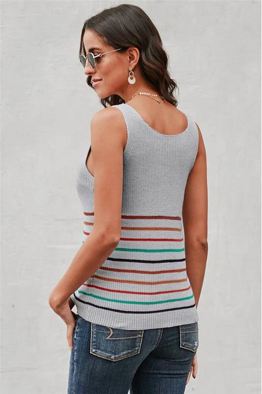 Sexy V-Neck Multi Stripe Knitted Top