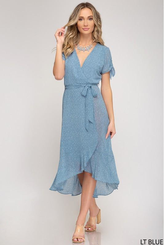 Woven Printed Wrap Midi Dress