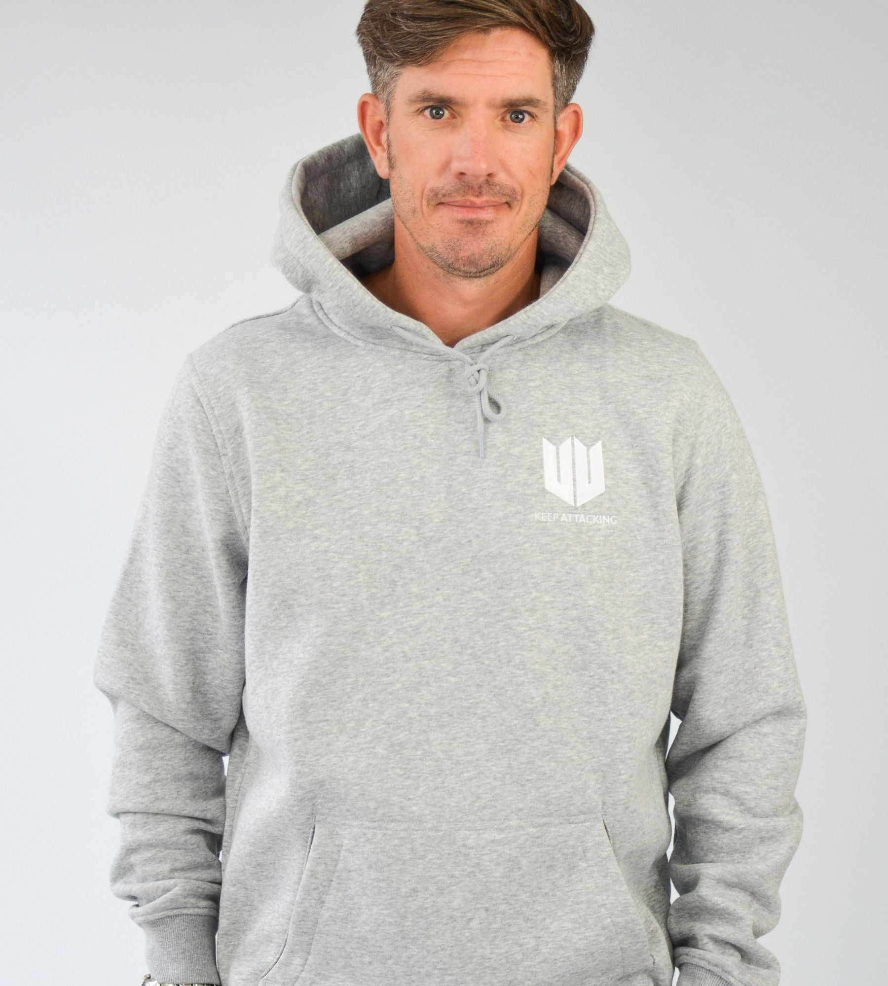 KA Mens Emblem Hoodie Grey White Main