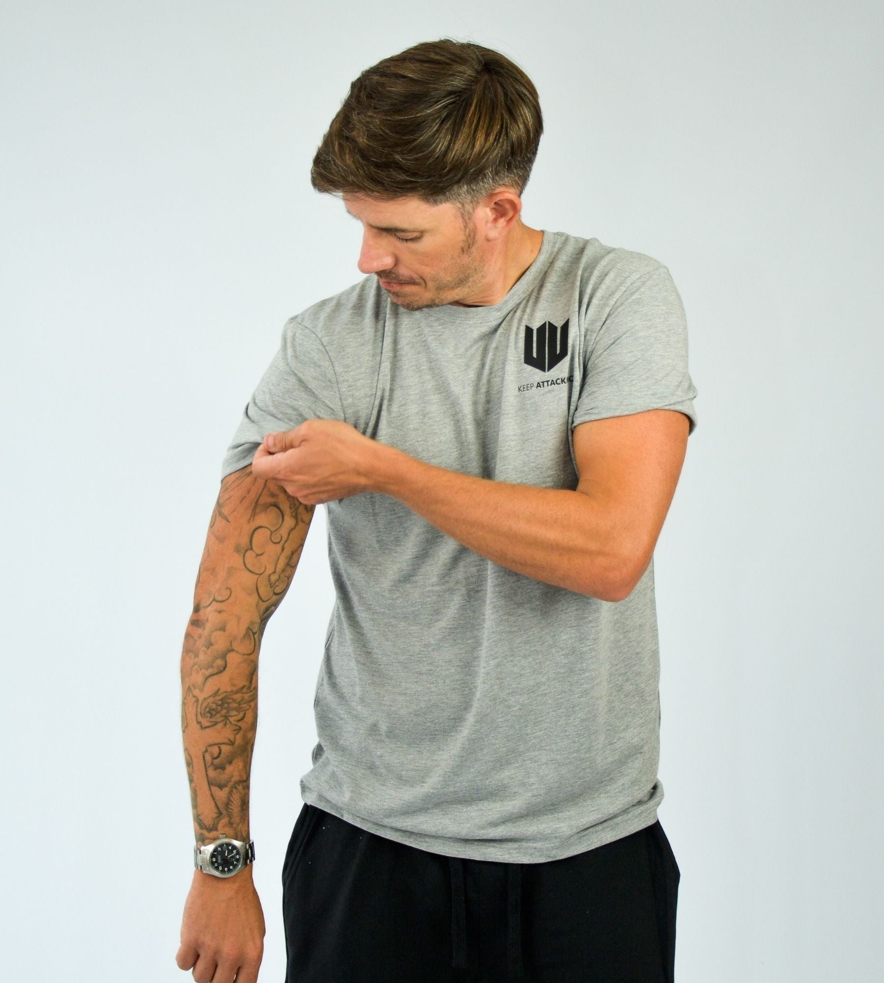 KA Mens Emblem T-Shirt Grey Black