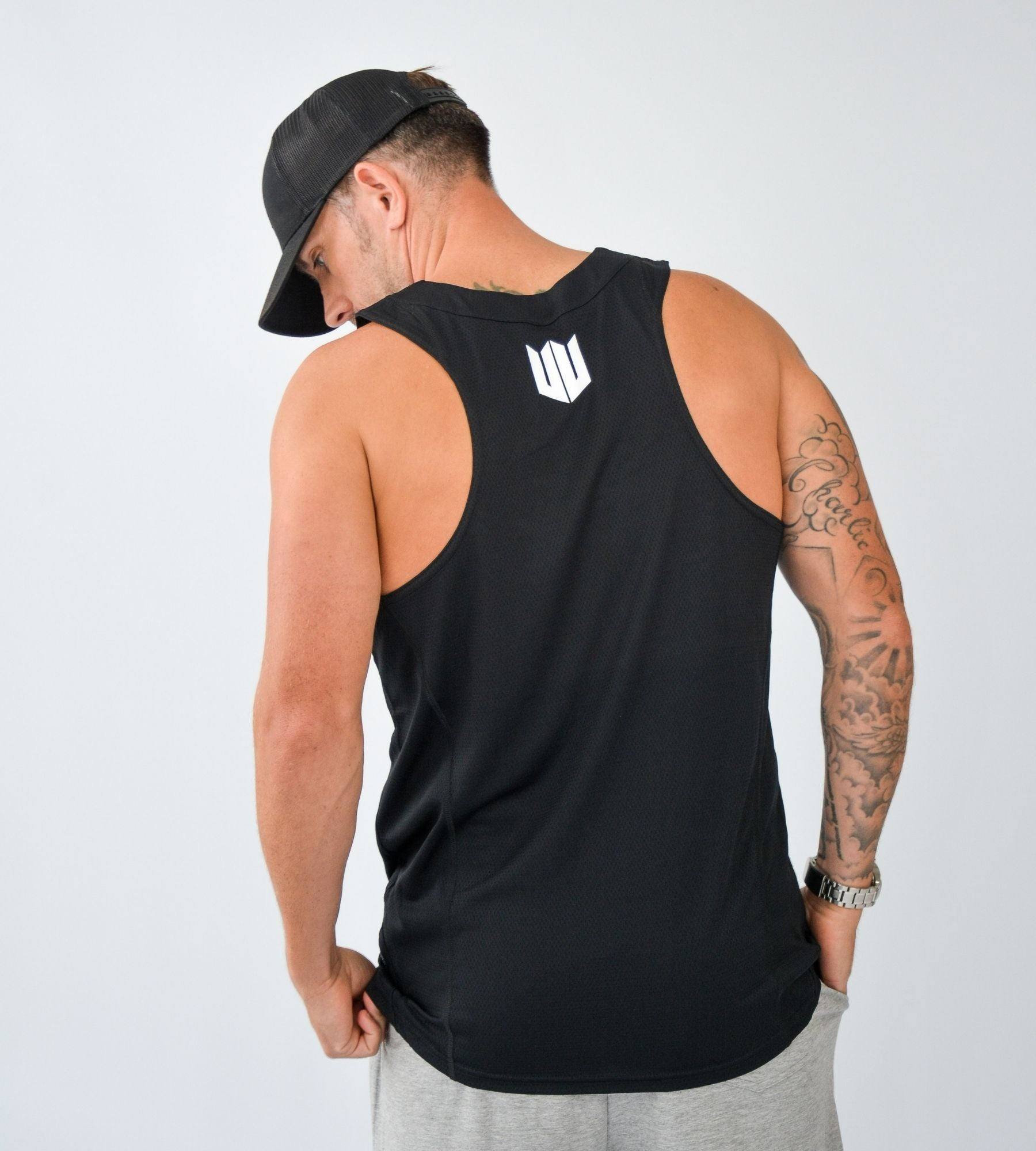 KA Mens Endurance Tank Black White Back