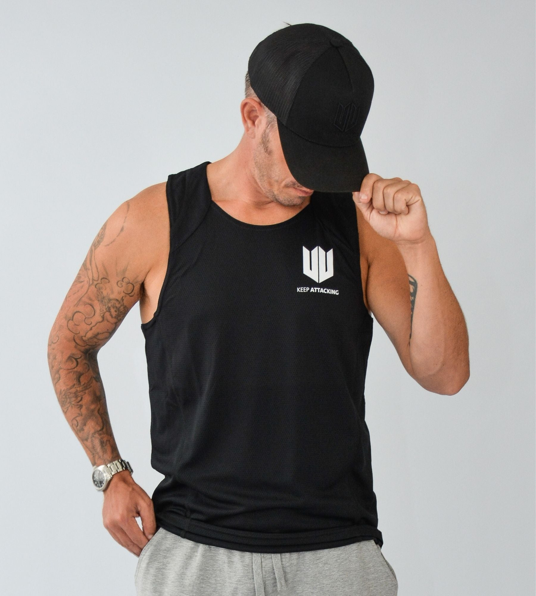 KA Mens Endurance Tank Black White
