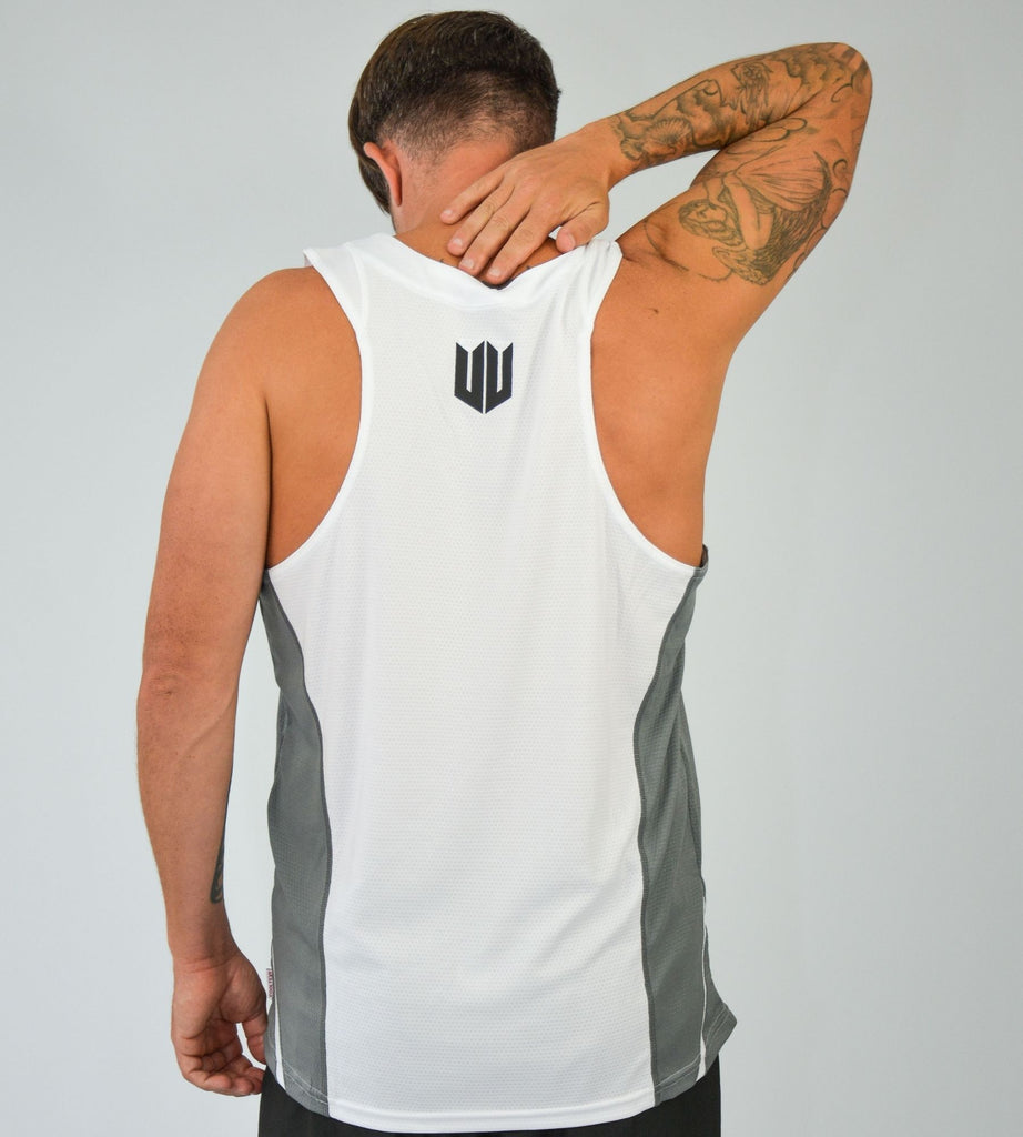 KA Mens Endurance Tank White Grey Back