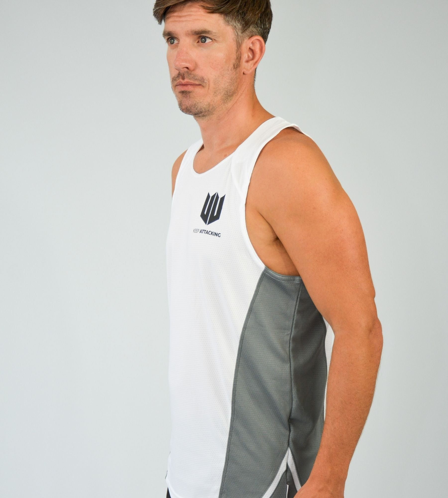 KA Mens Endurance Tank White Grey Lifestyle