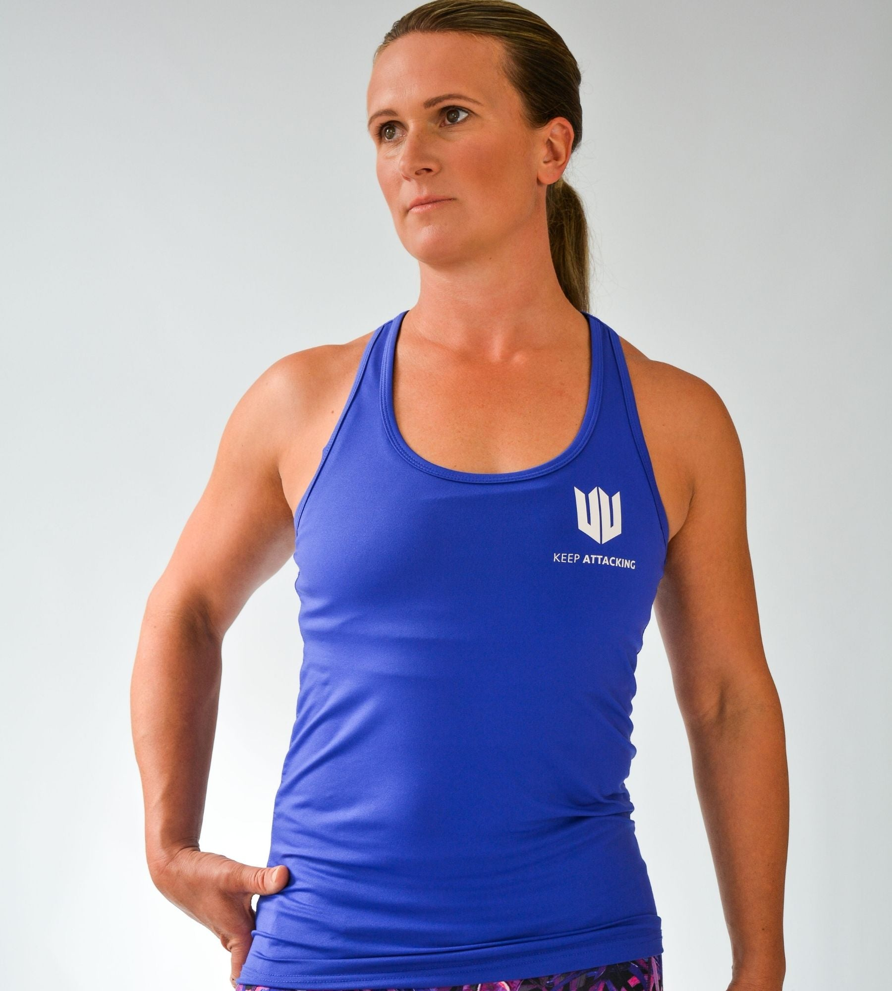 KA Womens Endurance Vest Top Blue with white logo front