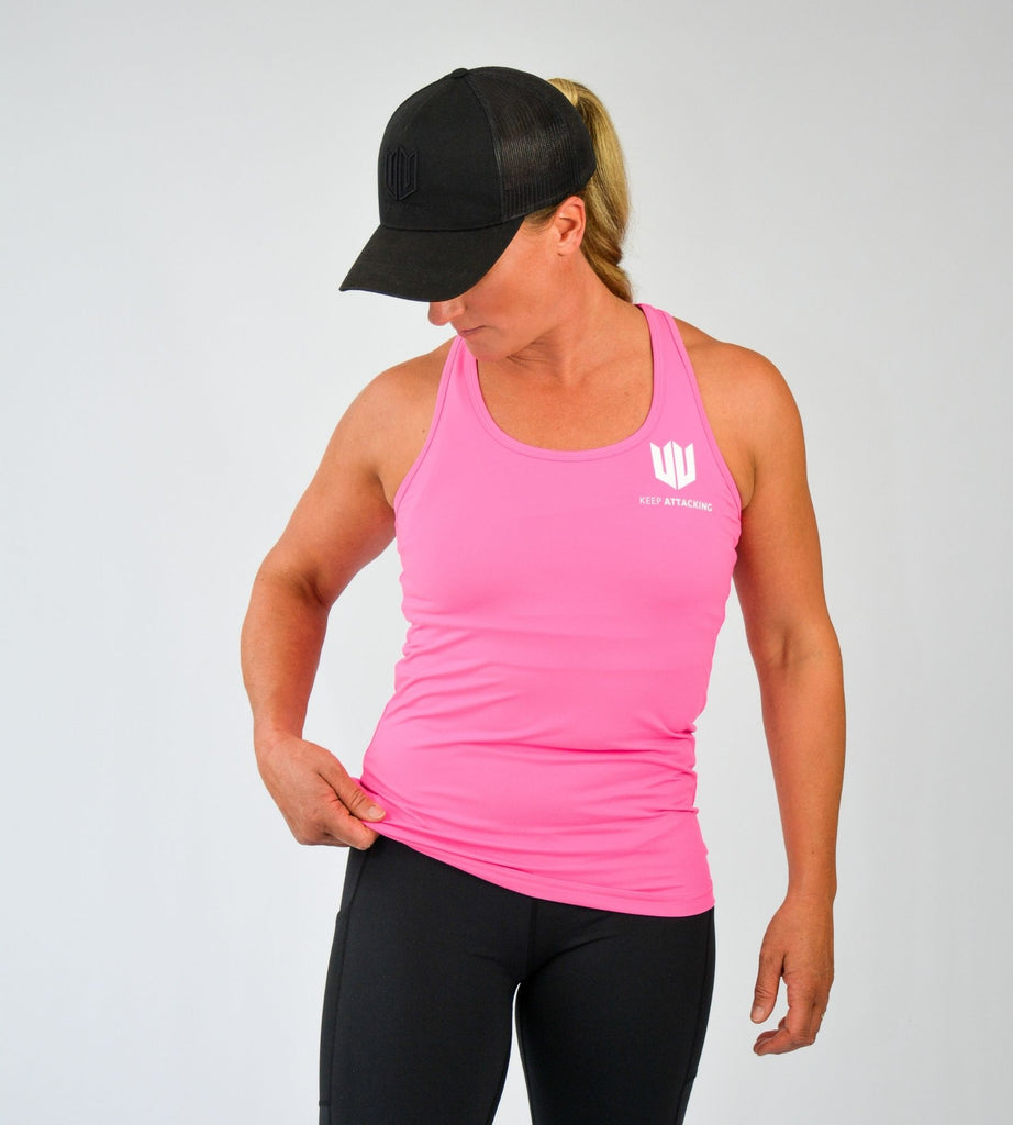 KA Womens Endurance Vest Top Pink with white logo main