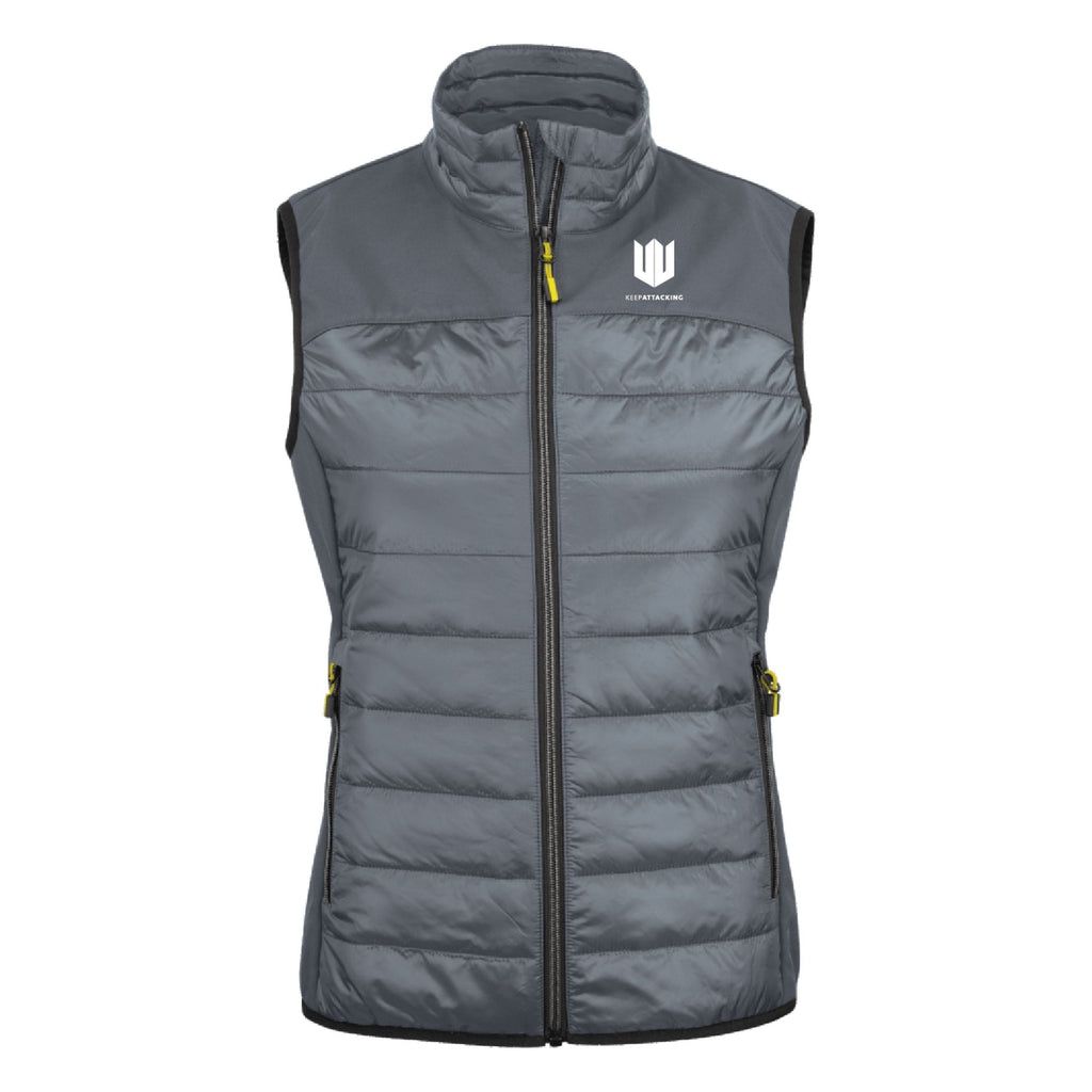 KA Womens Ethereal Gilet Grey with white logo