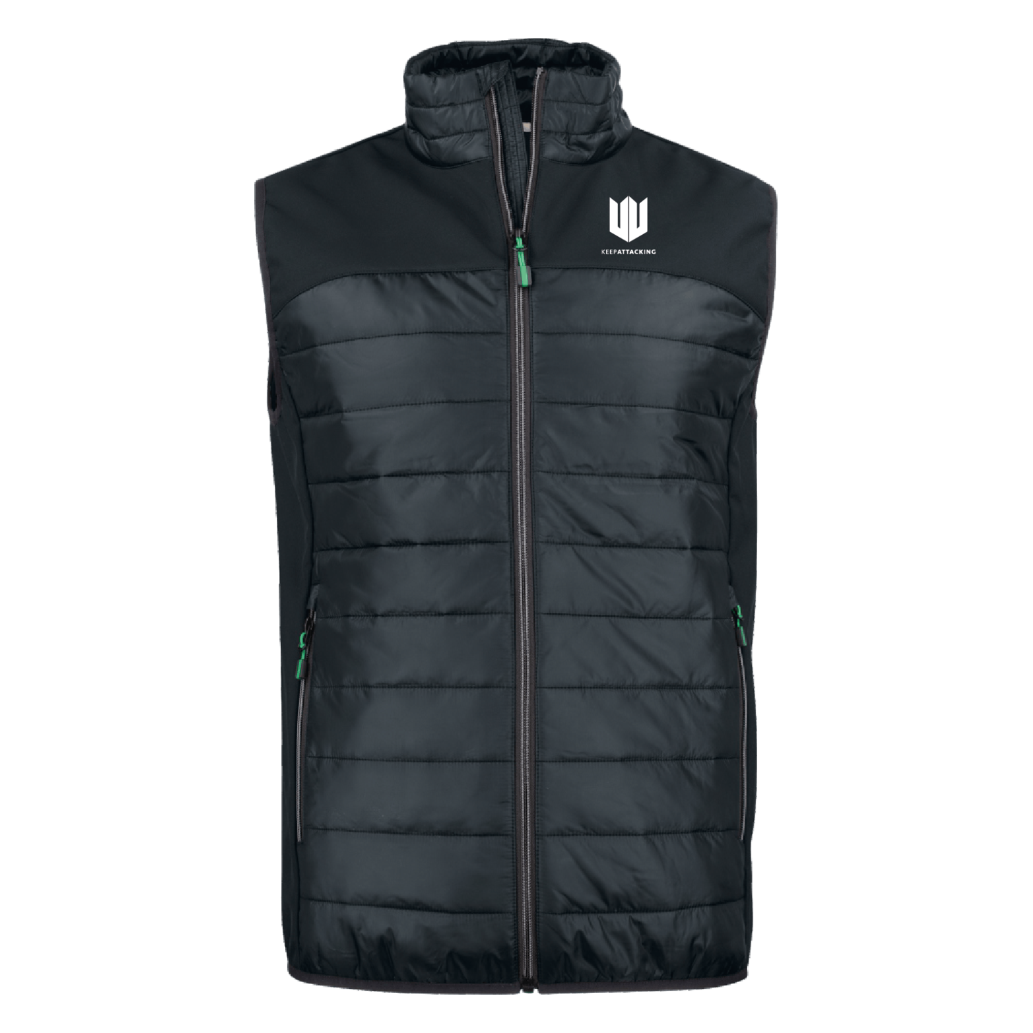 Mens Ethereal Gilet Black White Keep Attacking Main