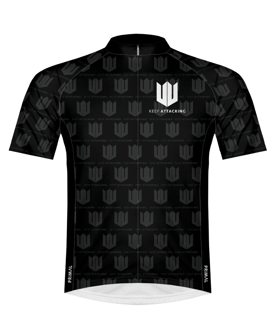 Mens Race Cut Cycling Jersey Black White Keep Attacking main