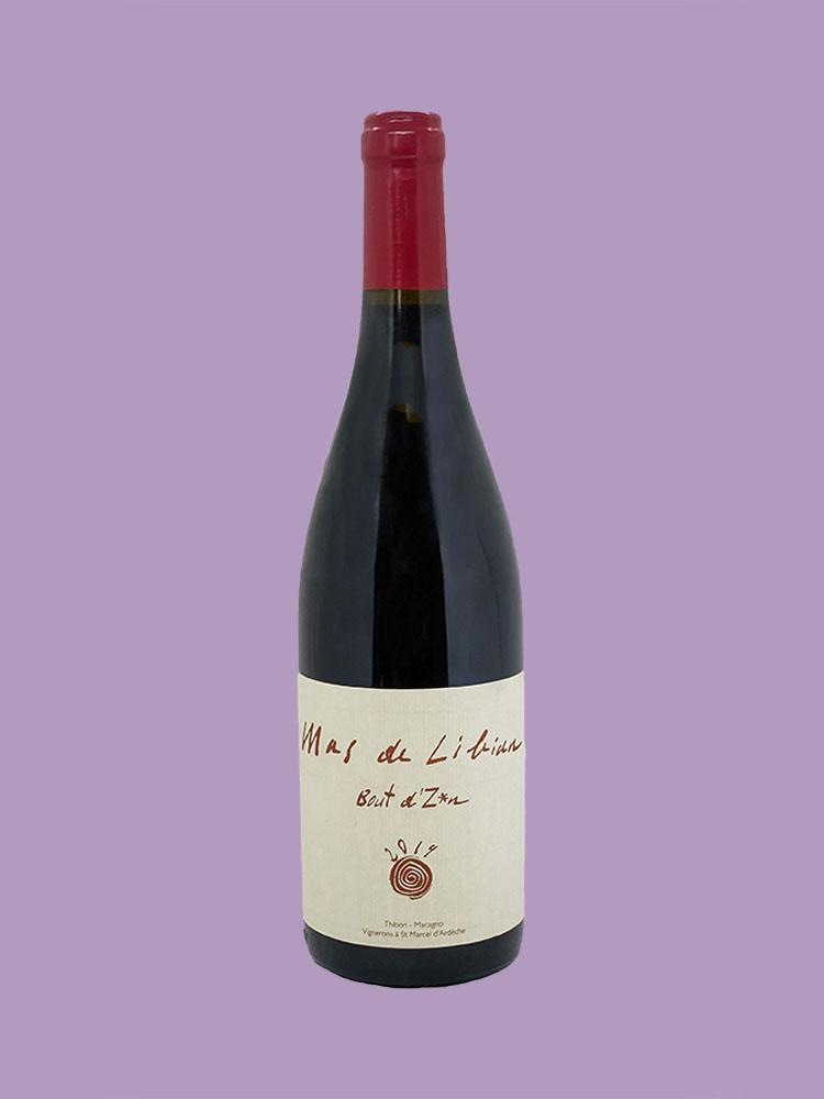 Bottle of organic red wine