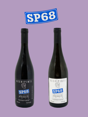 Two bottles of natural wine against purple background