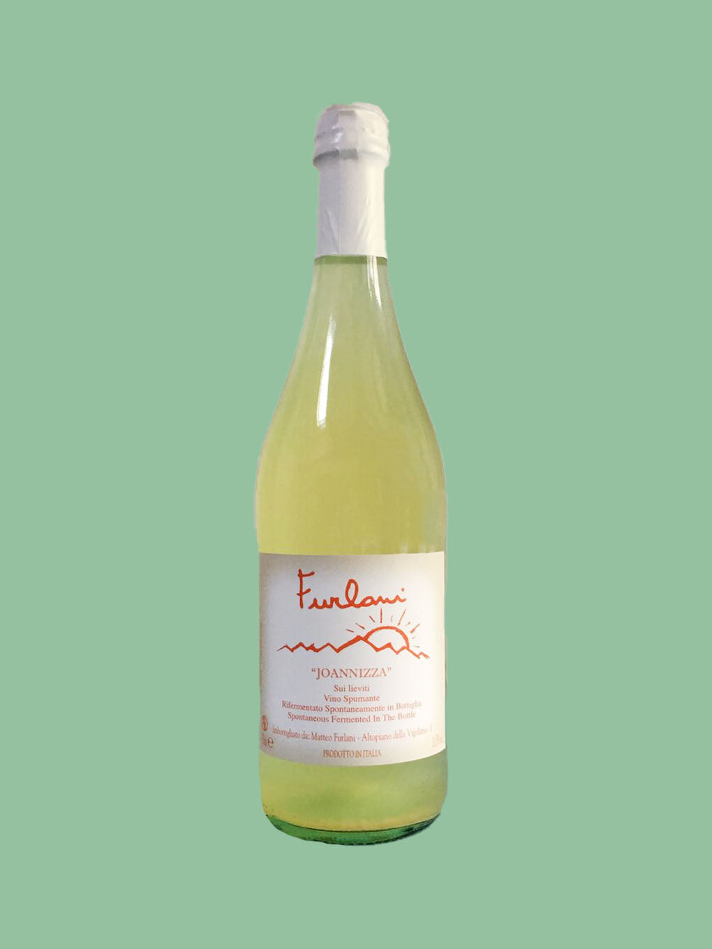 white wine bottle with white lid against green background